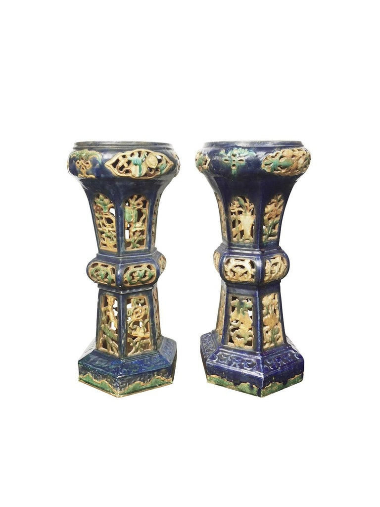 Pair Of Antique Chinese Enameled Ceramic Pedestals At 1stdibs