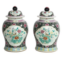 Pair of Antique Chinese Famille Noire Ground Porcelain Covered Ginger Jars/Vases