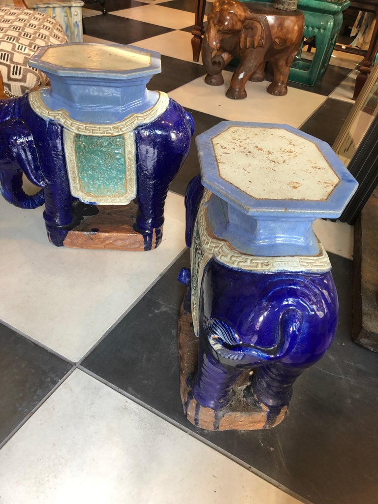 Chinese Export Pair of Antique Chinese Garden Elephant Stands/Side Tables For Sale