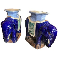 Pair of Antique Chinese Garden Elephant Stands/Side Tables