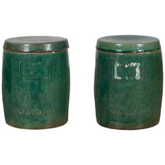 Pair of Antique Chinese Green Glazed Ceramic Lidded Jars from the Hunan Province