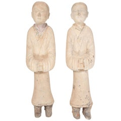 Pair of Antique Chinese Han Dynasty Terracotta Attendant Figurines