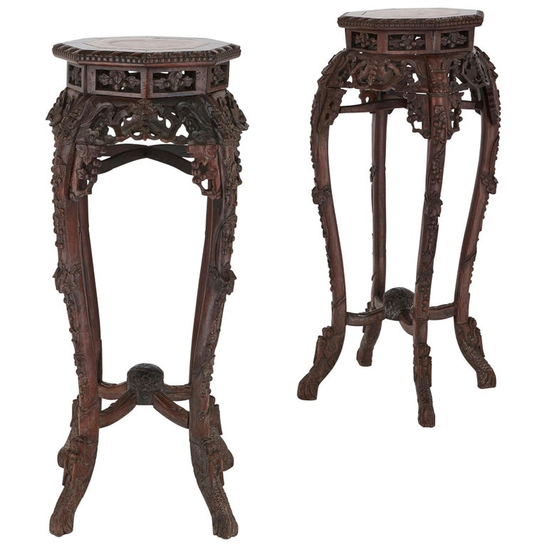 Pair of Antique Chinese Hardwood and Veined Marble Stands For Sale