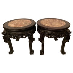 Pair of Antique Chinese Hardwood Flower Stands Rouge Marble Top Insert