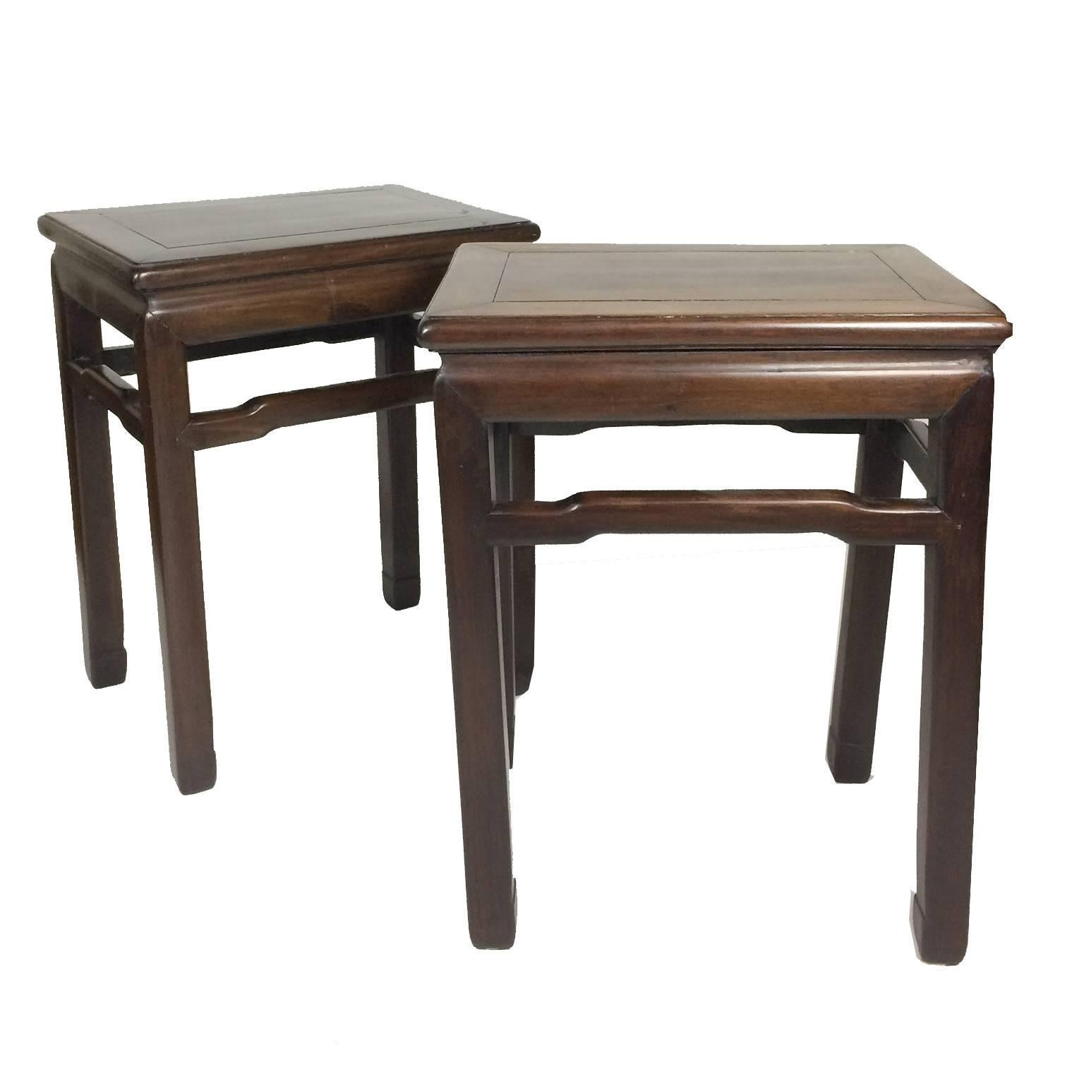 Charmant Pair Of Antique Chinese Hardwood Side Tables For Sale