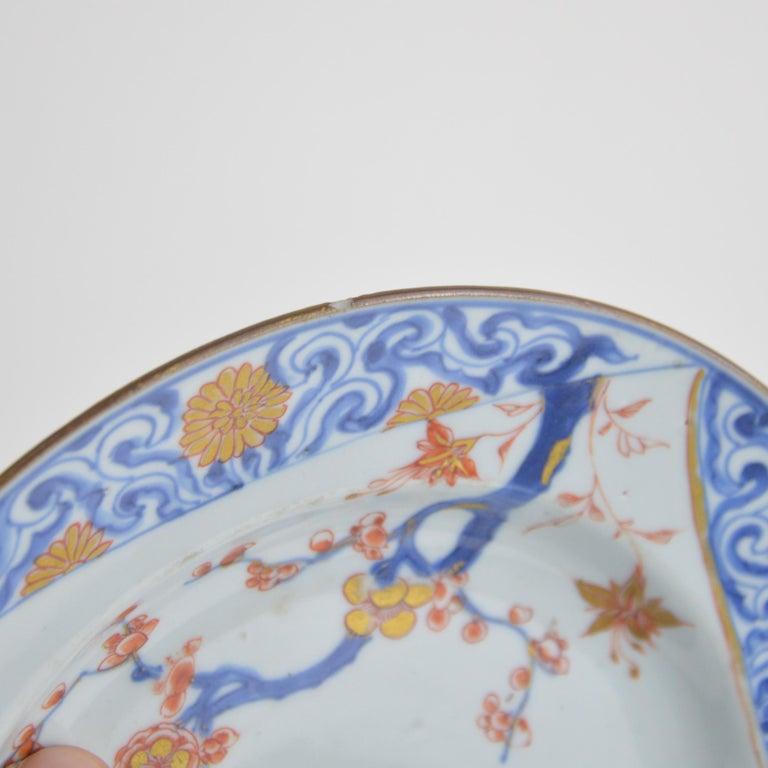 Pair of Antique Chinese Imari Plates 18th Century Kangxi Period For Sale 8