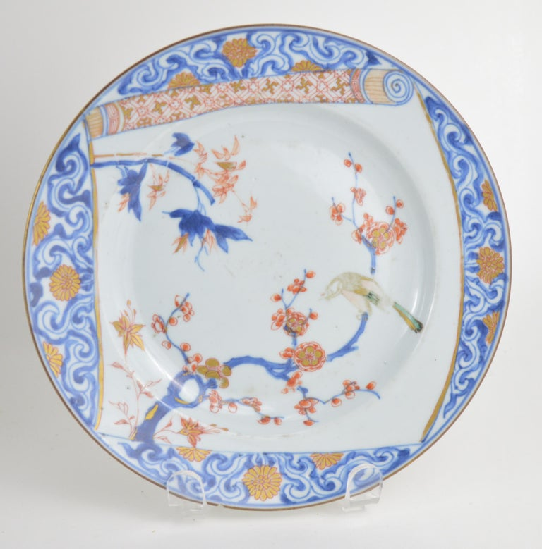Pair of Antique Chinese Imari Plates 18th Century Kangxi Period In Good Condition For Sale In Brussels, BE