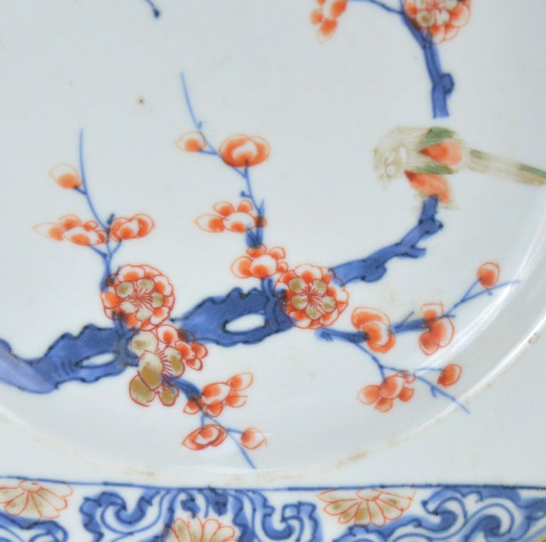 Porcelain Pair of Antique Chinese Imari Plates 18th Century Kangxi Period For Sale