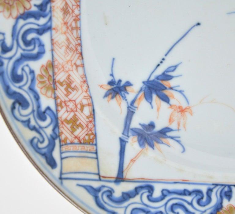 Pair of Antique Chinese Imari Plates 18th Century Kangxi Period For Sale 1