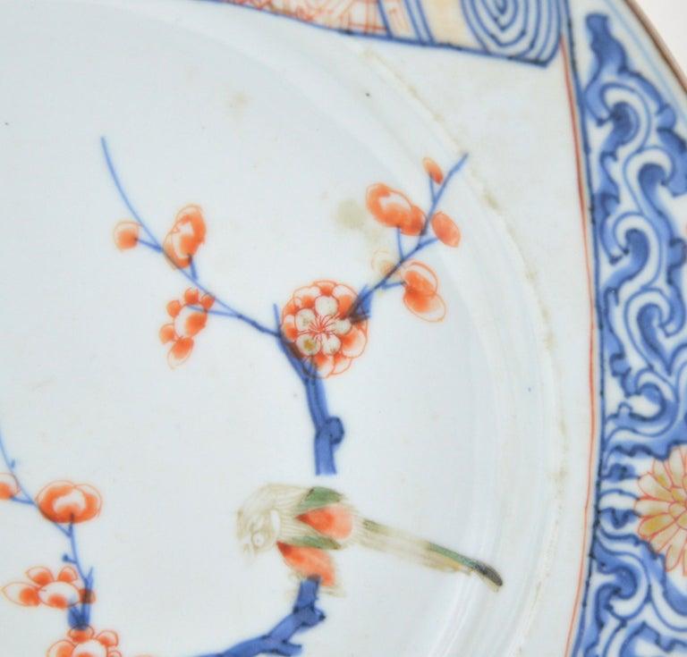 Pair of Antique Chinese Imari Plates 18th Century Kangxi Period For Sale 2