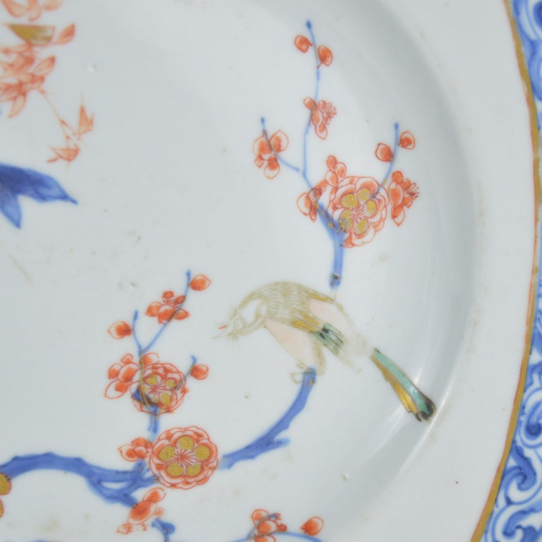 Pair of Antique Chinese Imari Plates 18th Century Kangxi Period For Sale 4