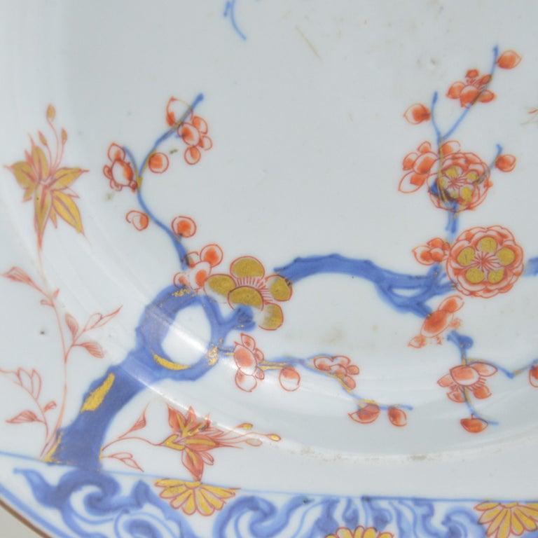 Pair of Antique Chinese Imari Plates 18th Century Kangxi Period For Sale 5