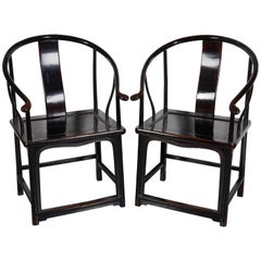 Pair of Antique Chinese Lacquer Horseshoe Back Chairs