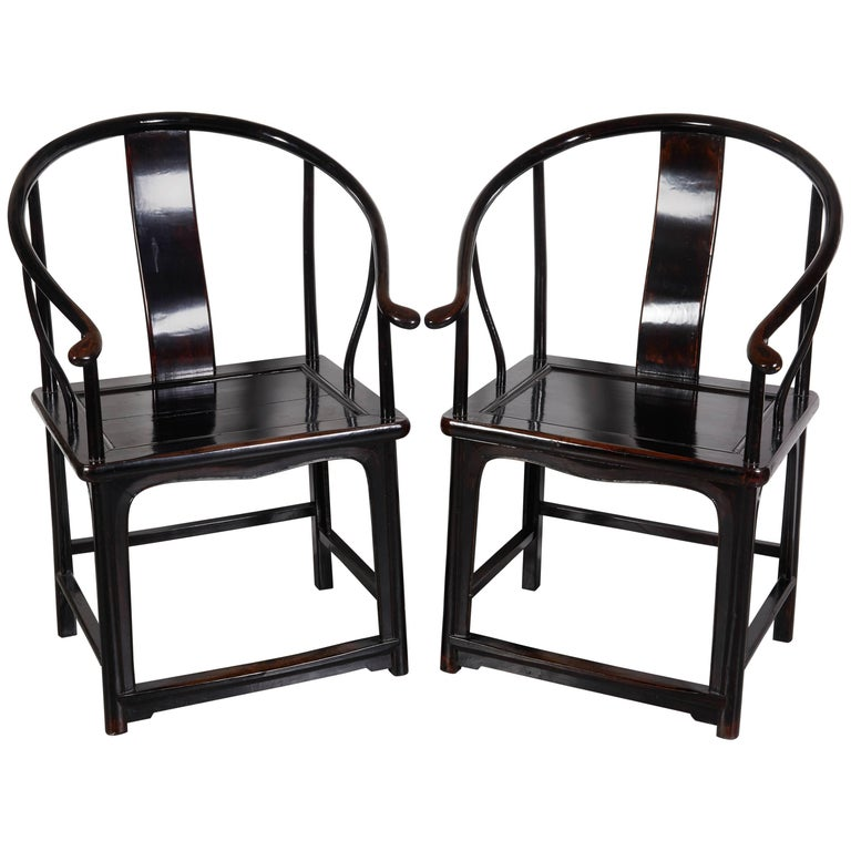 Pair of Antique Chinese Lacquer Horseshoe Back Chairs For Sale