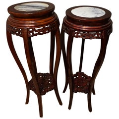 Pair of Antique Chinese Mahogany and Marble Carved Plant Stands