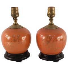Pair of Antique Chinese Orange and Gold Floral Round Porcelain Table Lamps