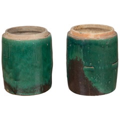 Pair of Antique Chinese Planters with Green Glazed Décor from the Hunan Province