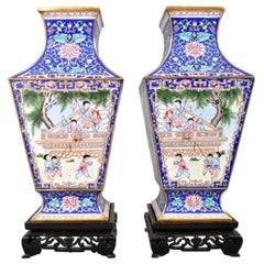 Pair of Antique Chinese Qing Dynasty Canton Enamel on Copper Vases, circa 1880