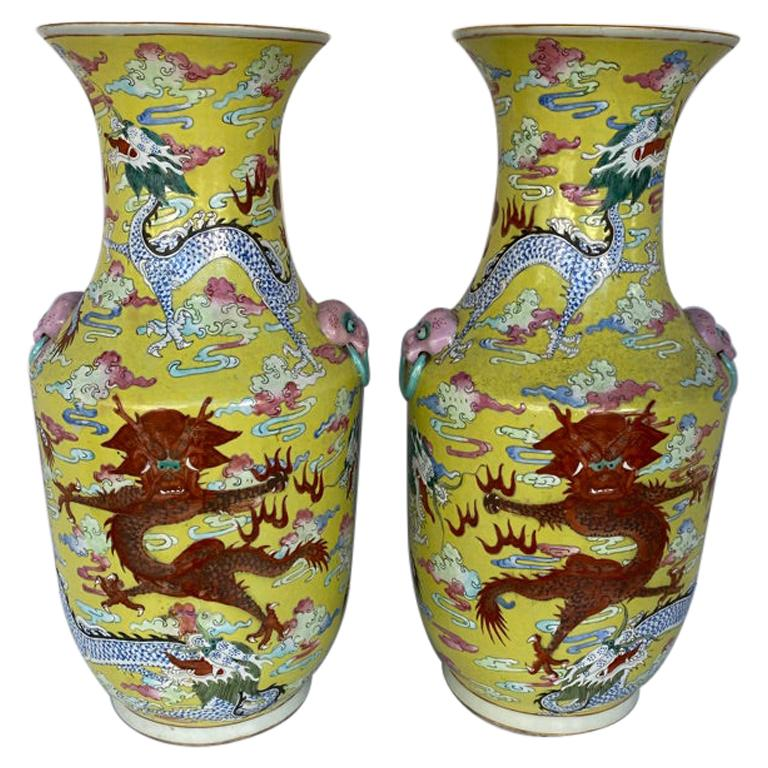 Pair of Antique Chinese Qing Dynasty Dragon Vases