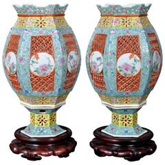 Pair of Antique Chinese Qing Dynasty Imperial Porcelain Wedding Lanterns