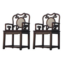 Pair of Antique Chinese Qing Dynasty Rosewood Hongmu Armchairs Marble Backs