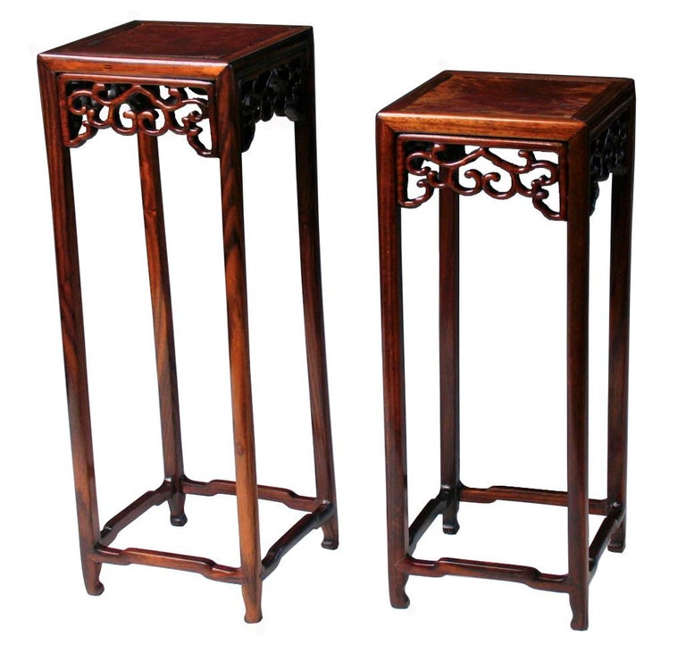 Chinoiserie Pair of Antique Chinese Rosewood and Burl Wood Curio Display Stands For Sale