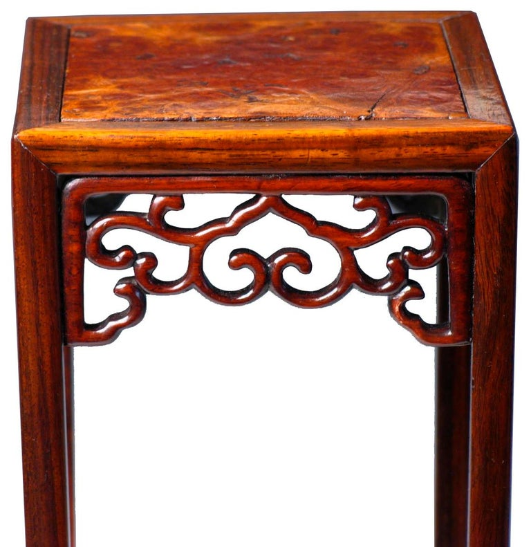 Hand-Carved Pair of Antique Chinese Rosewood and Burl Wood Curio Display Stands For Sale