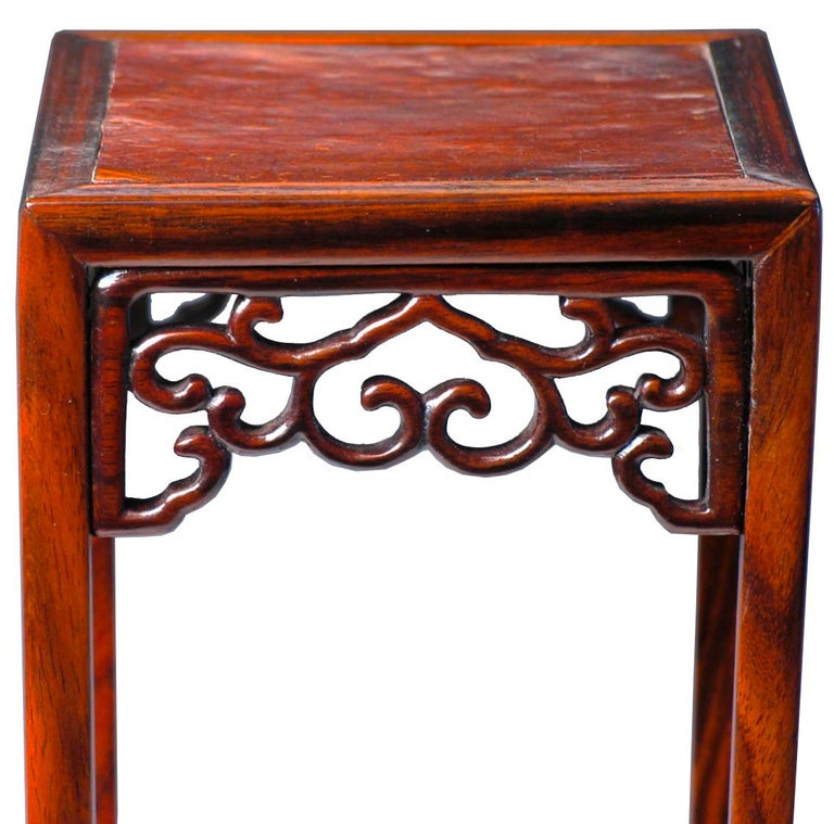 Pair of Antique Chinese Rosewood and Burl Wood Curio Display Stands In Good Condition For Sale In New York, NY