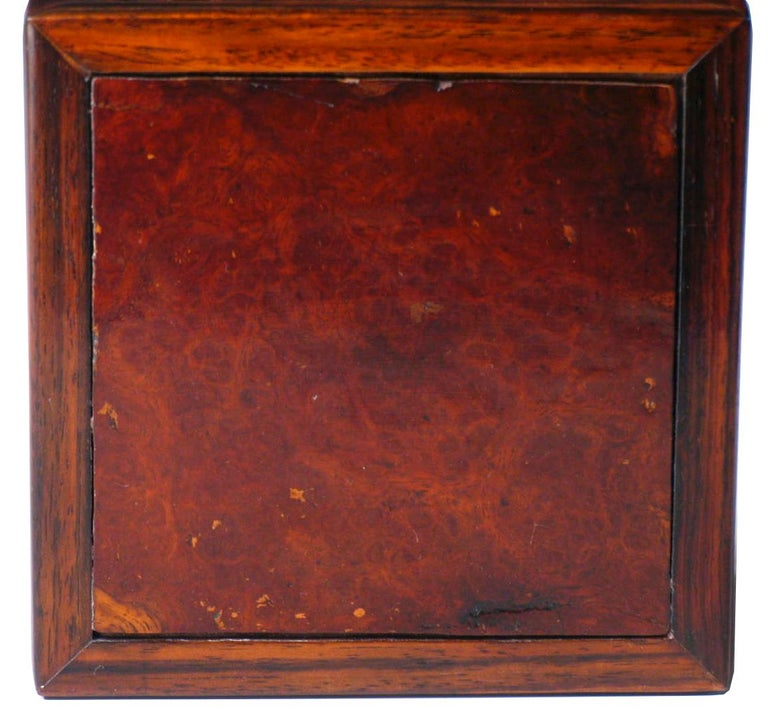 19th Century Pair of Antique Chinese Rosewood and Burl Wood Curio Display Stands For Sale