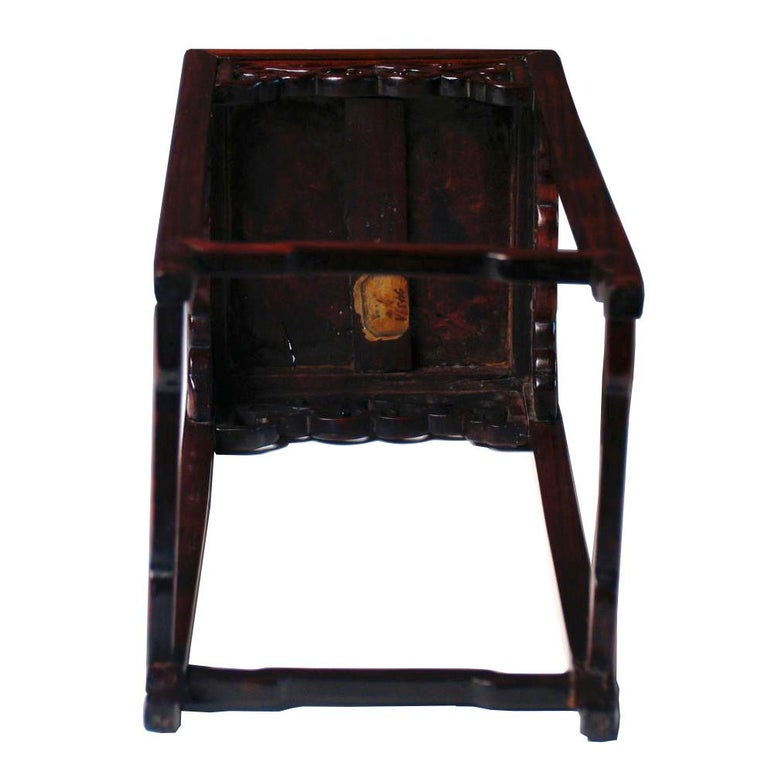Pair of Antique Chinese Rosewood and Burl Wood Curio Display Stands For Sale 2