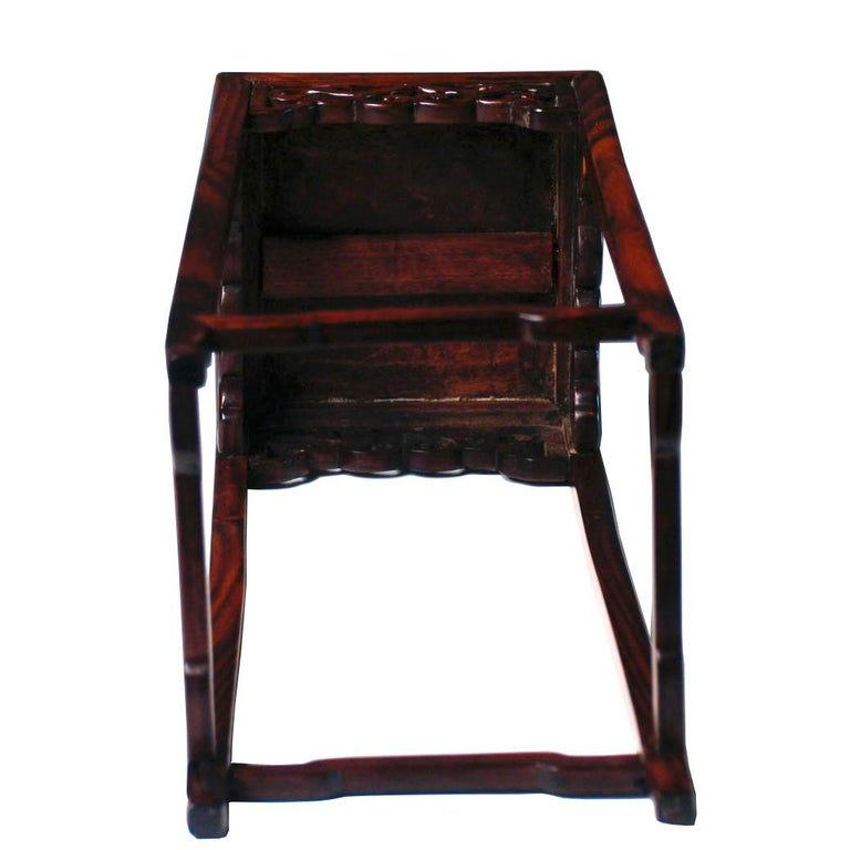 Pair of Antique Chinese Rosewood and Burl Wood Curio Display Stands For Sale 3