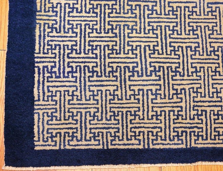 Hand-Knotted Pair of Antique Chinese Rugs For Sale