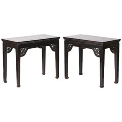 Pair of Antique Chinese Side Tables, Stylised Dragon Open Carving, Chinoiserrie
