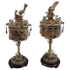 Pair of Antique Chinese Silver Gilt, Hardstone and Enamel Lanterns
