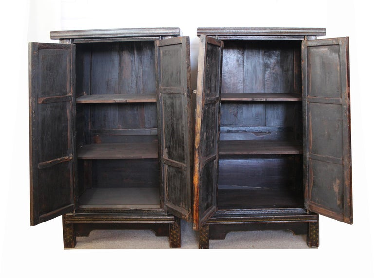 Pair of Antique Chinese Tapered Cabinet For Sale 4
