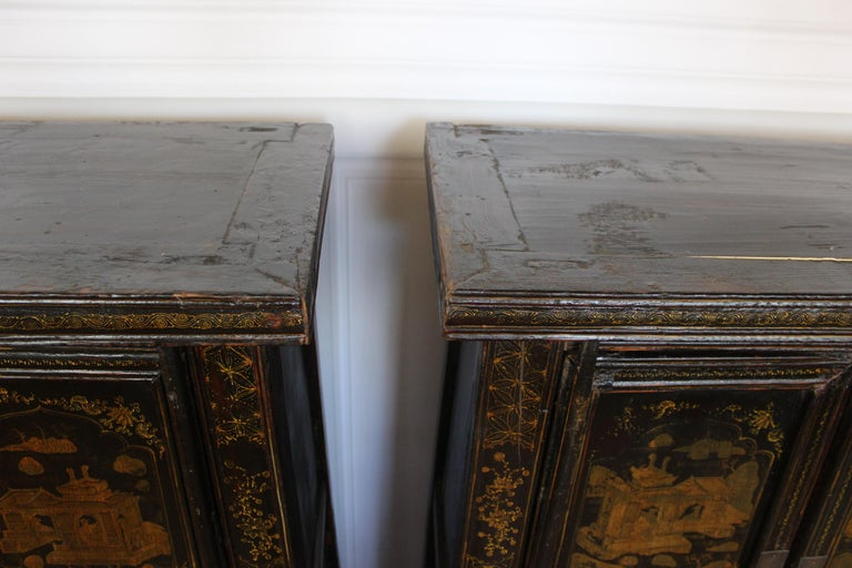Pair of Antique Chinese Tapered Cabinet For Sale 6