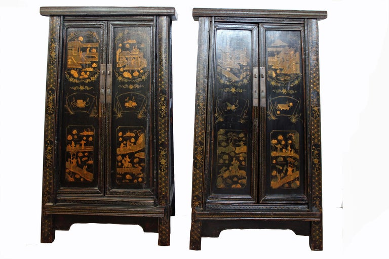 This is one of the classical Chinese cabinetry constructions, a sloping-stile or tapered cabinet. It has a simple and graceful A-frame structure. The base is made wider by the slight splay of the legs, creating the impression of upward movement.