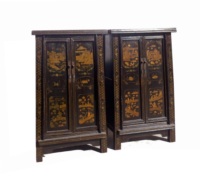 Hand-Painted Pair of Antique Chinese Tapered Cabinet For Sale