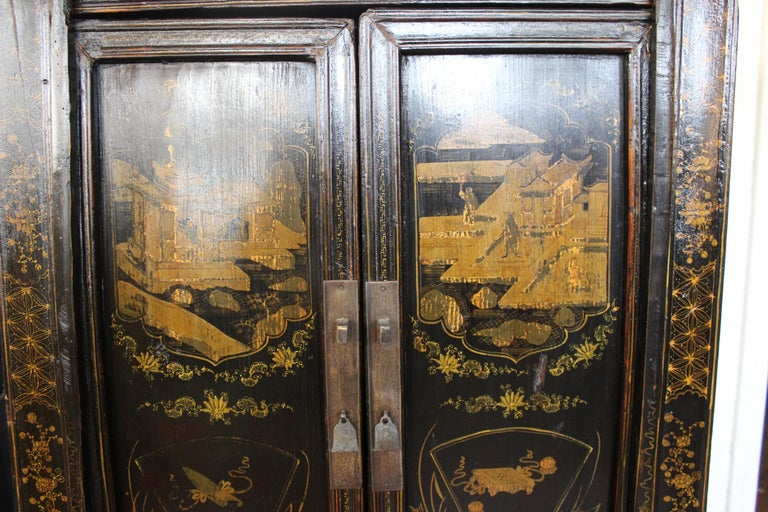 Elm Pair of Antique Chinese Tapered Cabinet For Sale