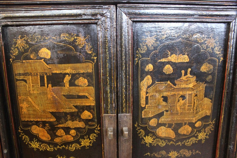 Pair of Antique Chinese Tapered Cabinet For Sale 1