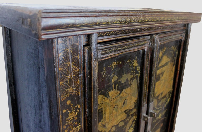 Pair of Antique Chinese Tapered Cabinet For Sale 2