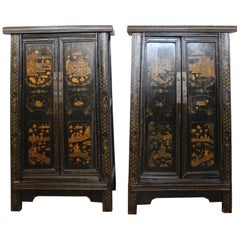 Pair of Antique Chinese Tapered Cabinet