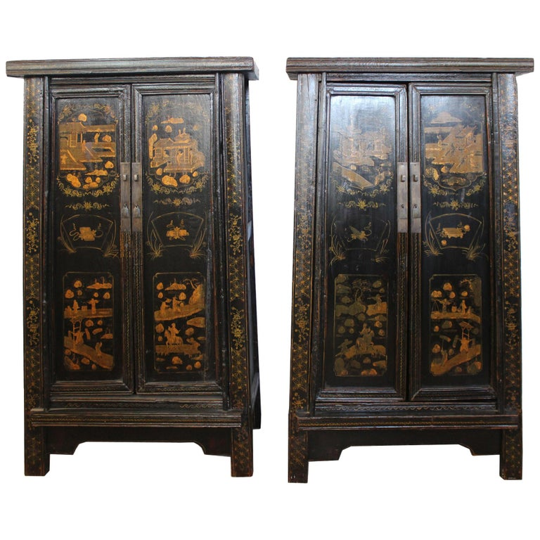Pair of Antique Chinese Tapered Cabinet For Sale