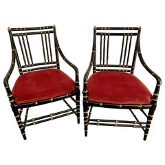 Pair of Antique Chinoiserie Black and Gold Faux Bamboo Chairs