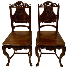 Pair of Antique Chinoiserie Carved Teak 19th Century Chairs