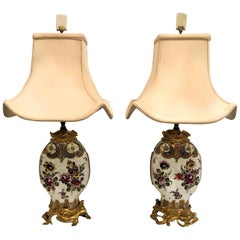 Pair of Antique Chinoiserie Porcelain Lamps with Ormolu Mounts