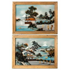 Pair of Antique Chinoiserie Reverse Glass Paintings Verre Eglomise Pictures