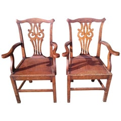 Pair of Antique Chippendale Carver Chairs, Side Chairs or Desk Chairs