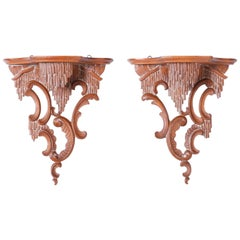 Pair of Antique Chippendale Style Carved Wood Wall Brackets
