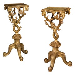 Pair of Antique Chippendale Style Chinoiserie Torchere Stands or Tables